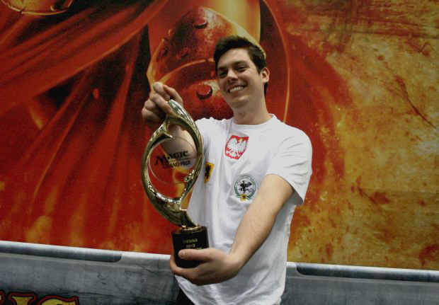Unranked Planeswalker Marcin Staciwa from Poland shown here with his championship trophy  from GP Vienna.