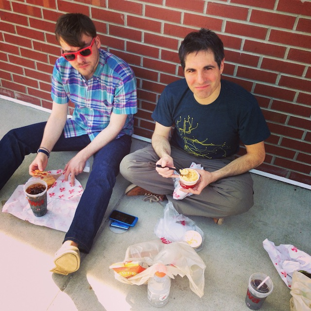 My boys Dave and Carl on the way home, sitting outside of a Wawa, eating hoagies, and watching Magic coverage. L-I-V-I-N'.