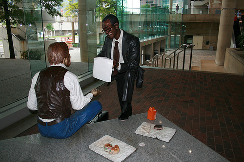 Metal Statue of men talking business-Baltimore Convention Center