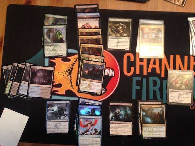 2-1 Sultai; after passing a Wingmate Roc I was gifted a Sagu Mauler and Icefeather Aven