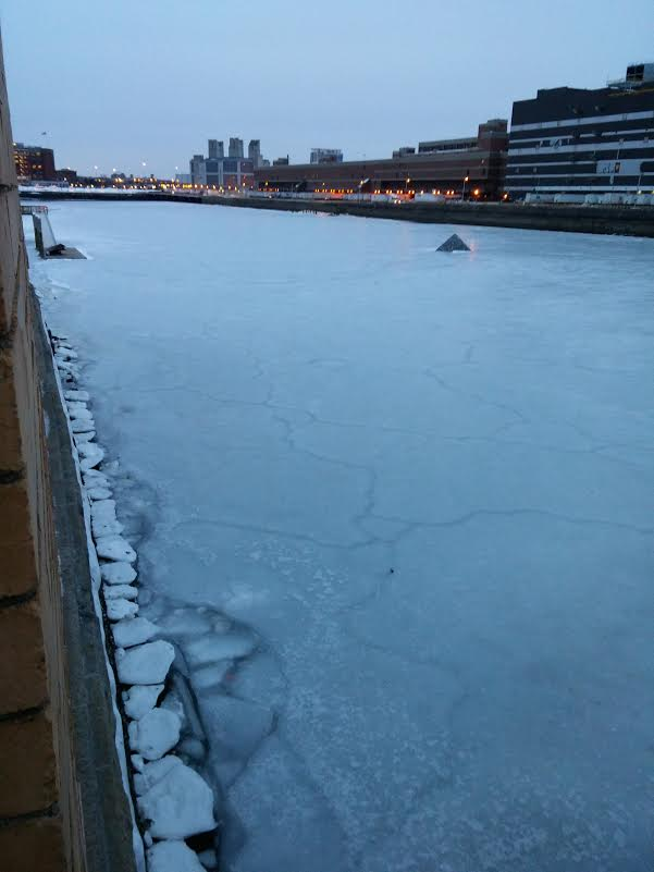 This used to be water but it's now the frozen dreams of Bostonians