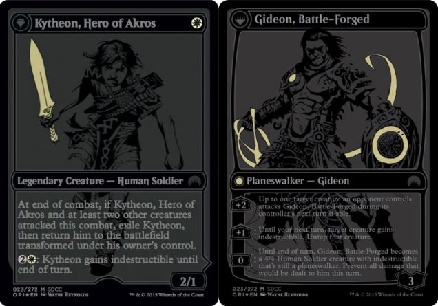 Still counts as commander damage whether it's Gideon or Kytheon who's doing the beating, if you were curious.