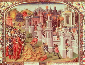 In the foreground of this image of Jerusalem's capture, Crusaders pile up the loot in the foreground as the city burns.