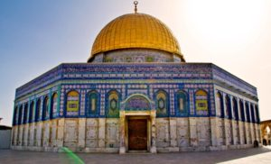 The Dome of the Rock, at various points a Jewish temple, Christian church, and (as pictured) a Muslim mosque in the heart of Jerusalem.