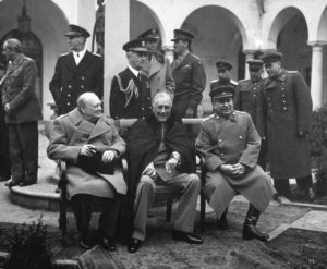 From left: Winston Churchill (PM Great Britain), Franklin Roosevelt (President United States) and Joseph Stalin (Premier USSR).