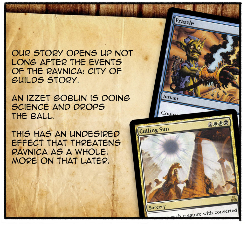 Our story opens up not long after the events of the Ravnica: City of Guilds story. An Izzet goblin is doing science and drops the ball. This has an undesired effect that threatens Ravnica as a whole. More on that later.